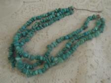 Vntg~Antq American SouthWest 3-Strand Nugget Turquoise Triple Cluster Necklace