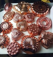 Lot of 15 Copper/Tin Cake Pans Jello Mold Baking Form Bundt Heart Holiday Autumn