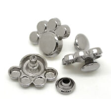 "Pkg of 10 Silver-tone Puppy / Bear Paw Metal Rivet Studs 5/8"" x 1/2"" (20457)"