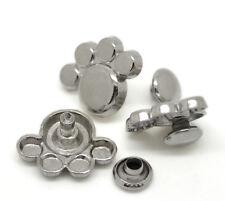 "Pkg of 10 Silver-tone PUPPY / BEAR PAW Metal Rivet Studs 5/8"" x 1/2"" (20457)"