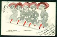 COMIC POSTCARD POKER TERMS A STRAIGHT   FIVE DANCING LADIES