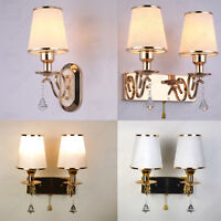 Modern Gold Indoor Double Wall Lamp Chrome&Crystal shade Sconce with Rope Switch