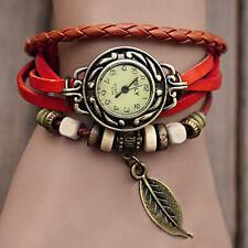 Red Vintage Leather Leaf Pendant Bracelet Quartz Wrist watches for Woman