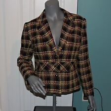 Womens RQT Lined Wool Blend Jacket Blazer Multi Colored Size 10 EUC