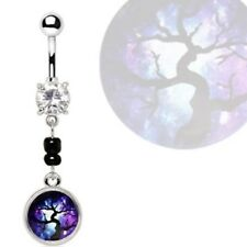 "MAGICAL TREE PENDANT BELLY RING STEEL BAR NAVEL PIERCING JEWELRY (14G 3/8"")"