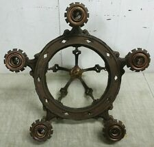 Antique Cast Iron 5-Light Bare Bulb Chandelier Ceiling Fixture, Classic Revival