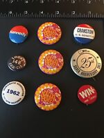 H- Lot of 9 Vintage Collectible Political Comic Novelty Buttons Pins Pinbacks
