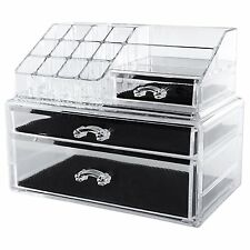 Clear Acrylic Jewellery Box Makeup Storage Case Unit Cosmetic Organizer Drawers