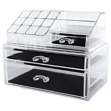 PORTAGIOIE acrilico trasparente Trucco Custodia unità Cosmetici Organizzatore Cassetti