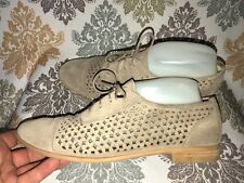 """Franco Sarto Womens """"Tia"""" Taupe Leather Oxfords Perforated Shoes Size 8.5 / 39.5"""