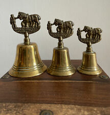 More details for 3 vintage brass bells with shire horses handle height 12, 10 and 8cm tall, lot
