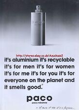 """Paco Rabanne """"Aluminium"""" 1997 Magazine Advert #2680"""