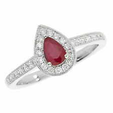 Unbranded Diamond Cluster Ruby Fine Rings