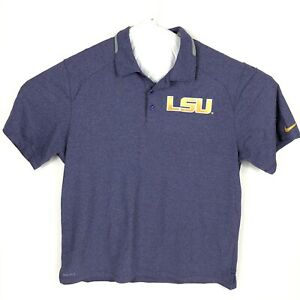 LSU TIGERS Men's Purple Short Sleeve Dri-Fit Golf Polo Shirt XL Nike NCAA EUC