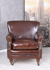 TV Chair Leather Armchair Relaxing Armchair On Wheels Club Braun