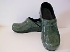 Sanita Women's Shoes Clogs Size 7.5 (Euro 38)  Reptilian Dark Green Leather
