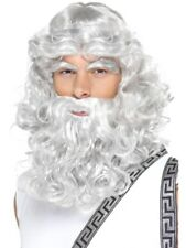 Mens Zeus Grey Wig Beard & Eyebrows - Fancy Dress Costume Accessory