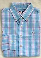 VINEYARD VINES Boys LS Performance Whale Shirt Blue Pink Plaid NWT LARGE 16
