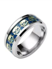 Stainless steel men's skull ring blue with gold skulls size13