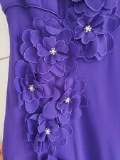 Purple Shoulder Dress Size 8 Debut Debenhams Prom Wedding Party Gown Floral Gem