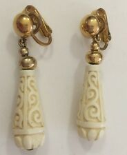 Vintage Rare Signed Ivory Colored Carved Celluloid Clip Earrings Crown Trifari