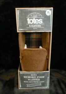TOTES TOASTIES MED BROWN MEMORY FOAM NON SKID BEDROOM SLIPPERS MENS XL 11-12 NEW