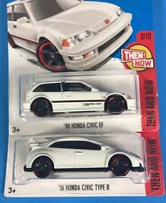 Lot of 2 Then and Now Hot Wheels - '90 HONDA CIVIC EF & '16 HONDA CIVIC TYPE R