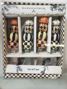 Mackenzie-Childs Set Of 4 Stacking Pumpkins Canapé Knives Halloween/Fall NEW