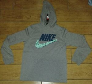 Nike Sportswear Smiley Jersey Hoodie Heather Grey/Turquoise CJ7866-091 Size XL