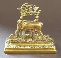 Brass vintage Victorian antique stag design menu holder