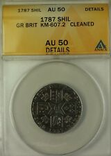 1787 Great Britain Shilling KM-607.2 Coin ANACS AU-50 Details Cleaned