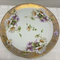 Vintage PB & Wurttemberg Thick Gold Rimmed Plate With Flowers
