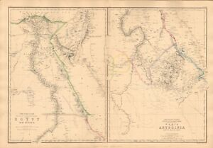 1860  ANTIQUE MAP - AFRICA, EGYPT, NUBIA, ABYSSINIA