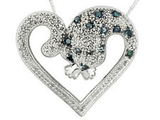 Fine Diamond .80ctw Rhodium Plated Sterling Silver Heart Shape Panther Necklace