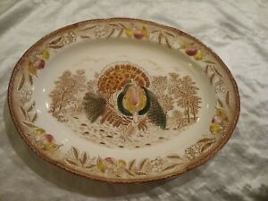 "VINTAGE TURKEY PLATTER PLATE 20"" TRANSFERWARE THANKSGIVING HOLIDAY TABLE DECOR"