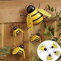 Metal Bumble Bee Set Of 4 Insect Porch Patio Fence Wall Garden Outdoor Art Decor