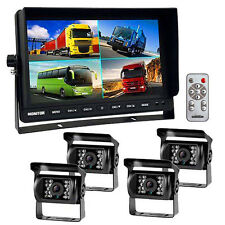 """9"""" QUAD SPLIT SCREEN MONITOR 4x SIDE REAR VIEW CCD CAMERA SYSTEM FOR TRUCK RV"""