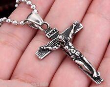 Edelstahl Anhänger  Jesus am Kreuz INRI Gott Religion Christen+ Kugelkette 60cm