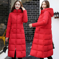 Women's Winter Down Coat Thick Long Cotton Parka Hooded Warm Jacket Zipper Zsell