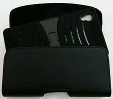 XL LEATHER BELT CLIP HOLSTER FOR SONY XPERIA Z4v FITS A HYBRID CASE ON PHONE