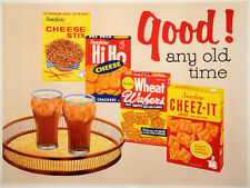 Original Vintage Food Poster Good! Any Old Time c1960 Midcentury Modern Cheez-It
