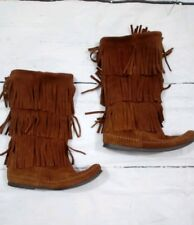 Minnetonka 3 Layer Fringe Boots Womens 8 Brown Suede Flat