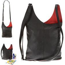 Leder Handtasche Cinino 2 Color Ledertasche Damen Tasche Frauen 1161 Schwarz Rot