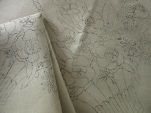 PAIR VINTAGE TRANSFER PRINTED CUSHION COVERS to EMBROIDER - BASKET of FLOWERS