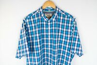 Penguin Men Casual Shirt Short Sleeves Cotton Blue Check size XL