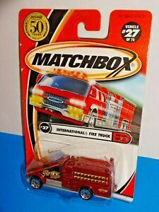 Matchbox 2002 Red Hot Heroes Series #27 International Fire Truck Red w 50th Logo