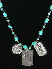 Western Cowgirl Turquoise Bead Silver SSD Pendant Necklace Cross Ride Horseshoe