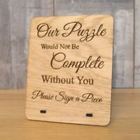 Rustic Oak Wooden Please Sign My Jigsaw Guestbook Personalised Large Sign Plaque