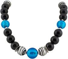 Kette Collier Schmuck Schwarzer Onyx Muranoglas Necklace Design Silber Edelstein