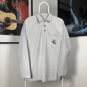 Mens Vintage 90s CALVIN KLEIN CK Spellout Striped Knit Polo Shirt Top - Grey - L